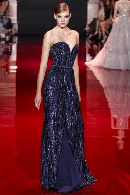 2014 Elie Saab mavi straplez Gece Elbisesi