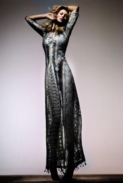 Kate Moss Topshop 2014 uzun elbise modeli