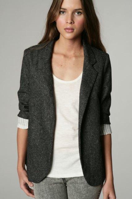 bayan blazer ceket - gri bayan blazer ceket modeli