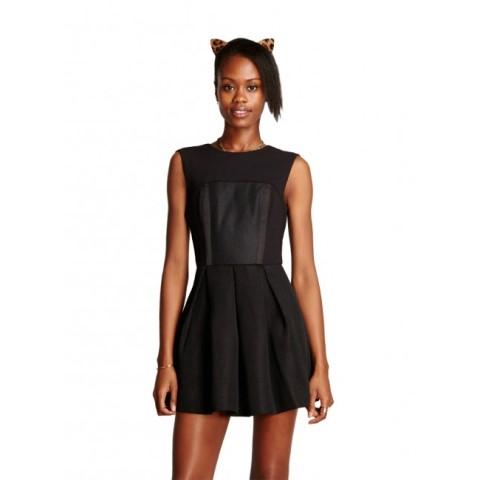 siyah mini kolsuz elbise