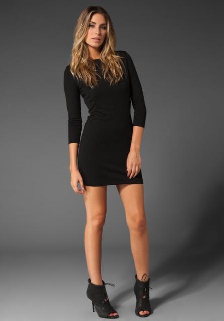 uzun kollu mini elbise modeli