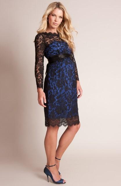 mavi siyah dantel hamile abiye elbise modeli