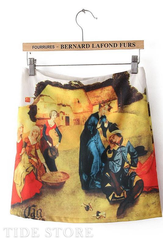 Beautiful New Arrival Slim Vintage Print Mini Skirt