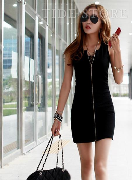 New Sleeveless Slim Solid Color Zippered Bodycon Dress