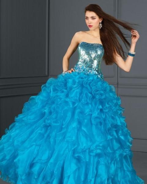 mavi prenses abiye elbise