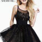sherri hill siyah dantelli kokteyl elbise modeli