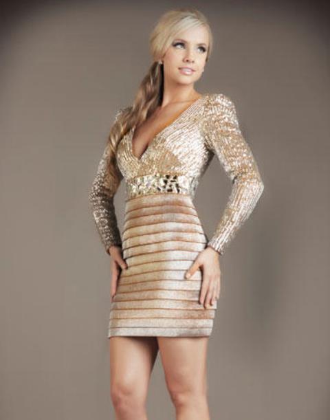 uzun kollu abiye elbise