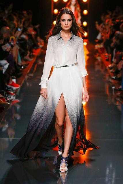 beyaz batik uzun abiye elbise modeli