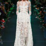 beyaz dantel uzun abiye elbise