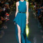 mavi uzun abiye elbise modeli