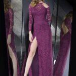 mor dantel uzun abiye elbise