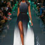 siyah batik desenli uzun abiye elbise modeli