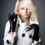 siyah deri eldiven modeli