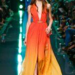turuncu uzun abiye elbise