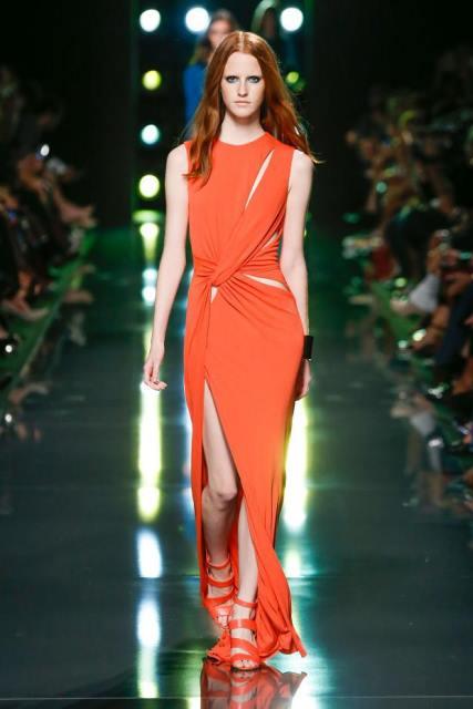 turuncu uzun abiye elbise modeli
