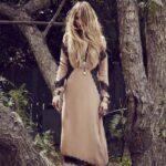 uzun dantelli bohem elbise