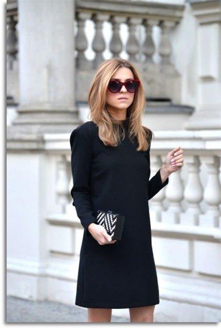 siyah uzun kollu elbise modeli