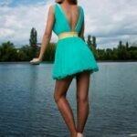 turkuaz abiye elbise modeli