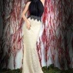 siyah beyaz abiye elbise modeli