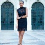 siyah dantel parti elbisesi