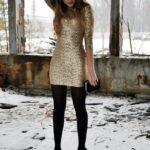 dore payetli mini elbise