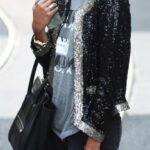 siyah payetli ceket modeli