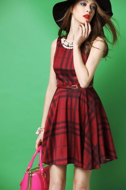 ekoseli elbise model
