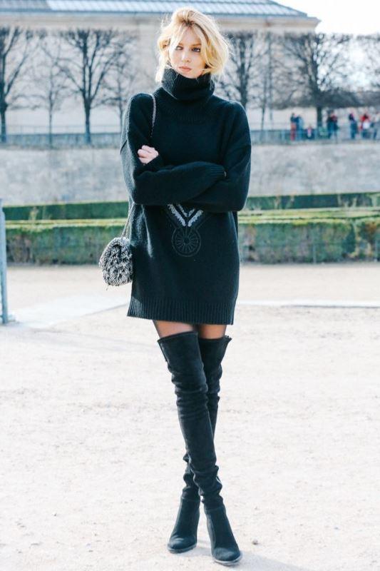 siyah kazak elbise modeli