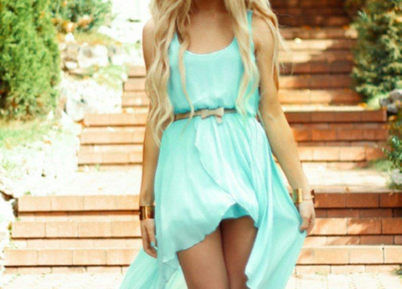 Aqua mavisi elbise modeli