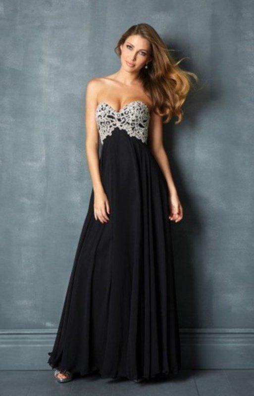 siyah uzun mezuniyet elbisesi modeli